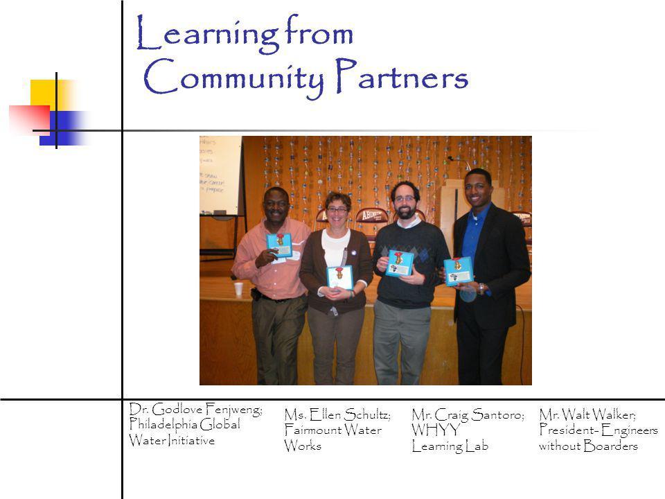 Learning from Community Partners Dr.Godlove Fenjweng; Philadelphia Global Water Initiative Ms.
