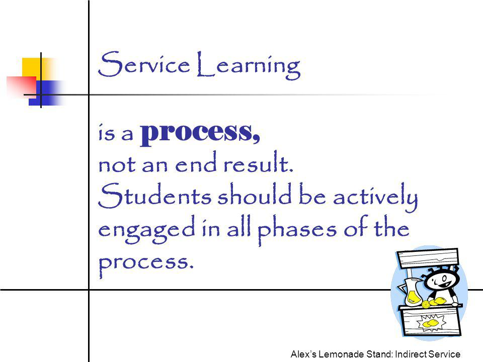 Service Learning is a process, not an end result.