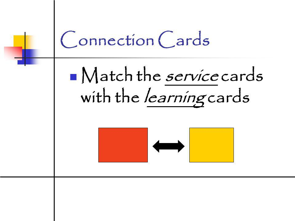 Connection Cards Match the service cards with the learning cards