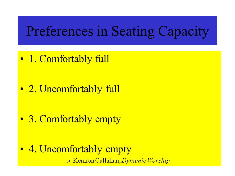Preferences in Seating Capacity 1. Comfortably full 2.