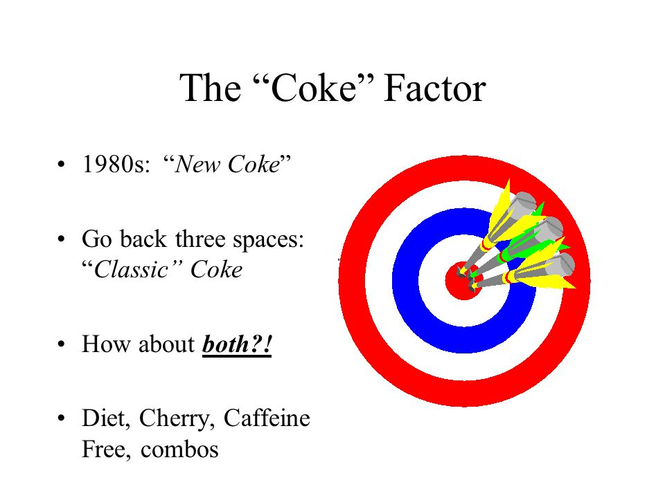 The Coke Factor 1980s: New Coke Go back three spaces:Classic Coke How about both .