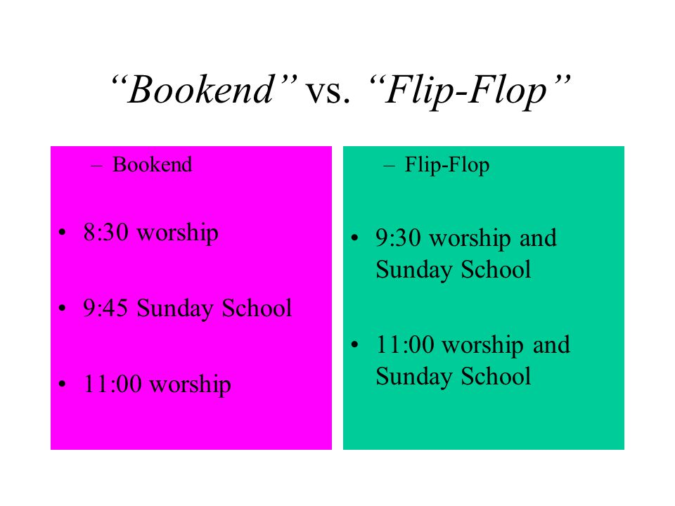 Bookend vs. Flip-Flop –Bookend 8:30 worship 9:45 Sunday School 11:00 worship –Flip-Flop 9:30 worship and Sunday School 11:00 worship and Sunday School