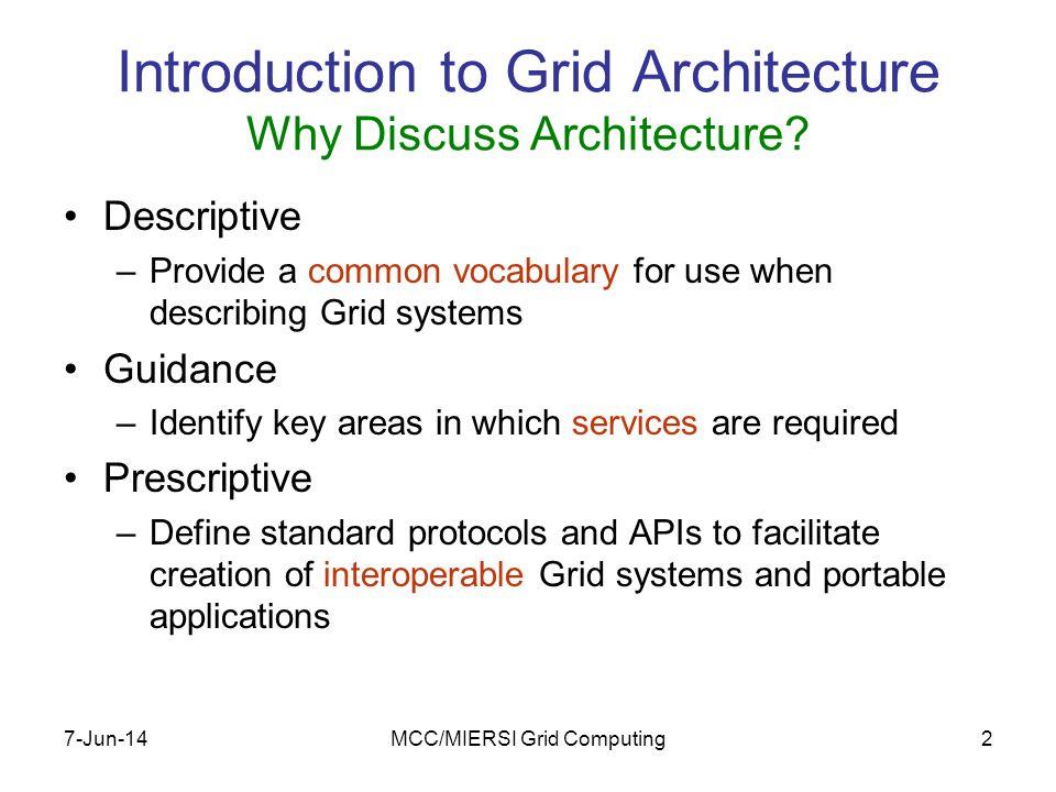 7-Jun-14MCC/MIERSI Grid Computing33 Web services and the Grid OGSA, WSRF, GT4