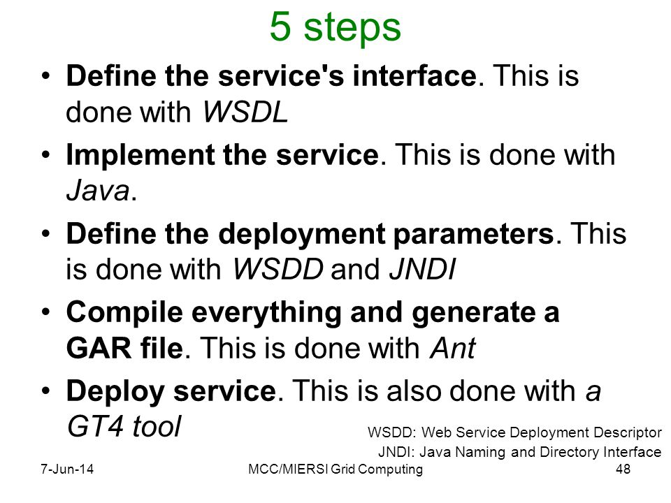5 steps Define the service s interface. This is done with WSDL Implement the service.