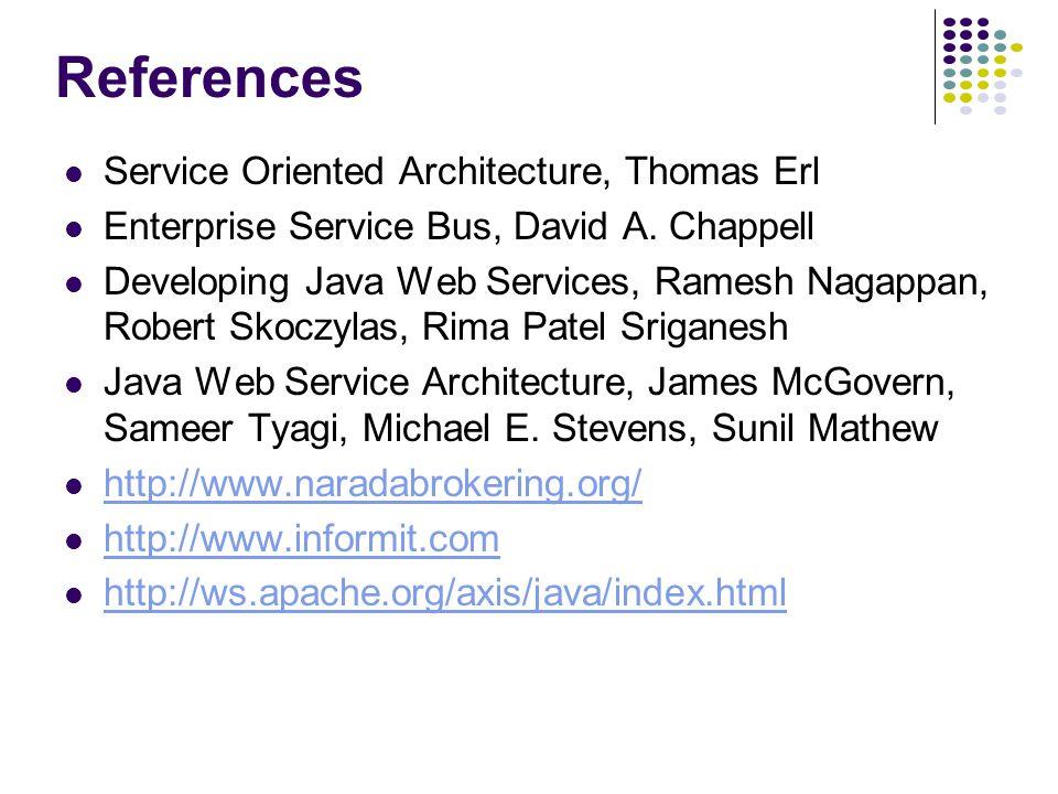 References Service Oriented Architecture, Thomas Erl Enterprise Service Bus, David A.