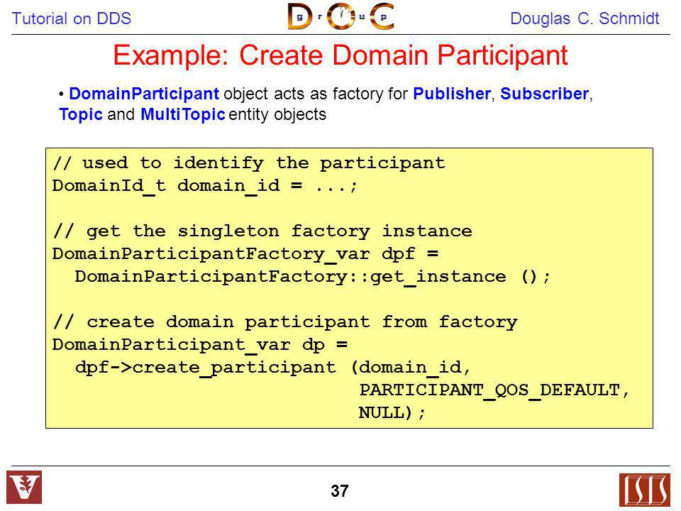 Tutorial on DDS Douglas C. Schmidt 37 Example: Create Domain Participant // used to identify the participant DomainId_t domain_id =...; // get the sin