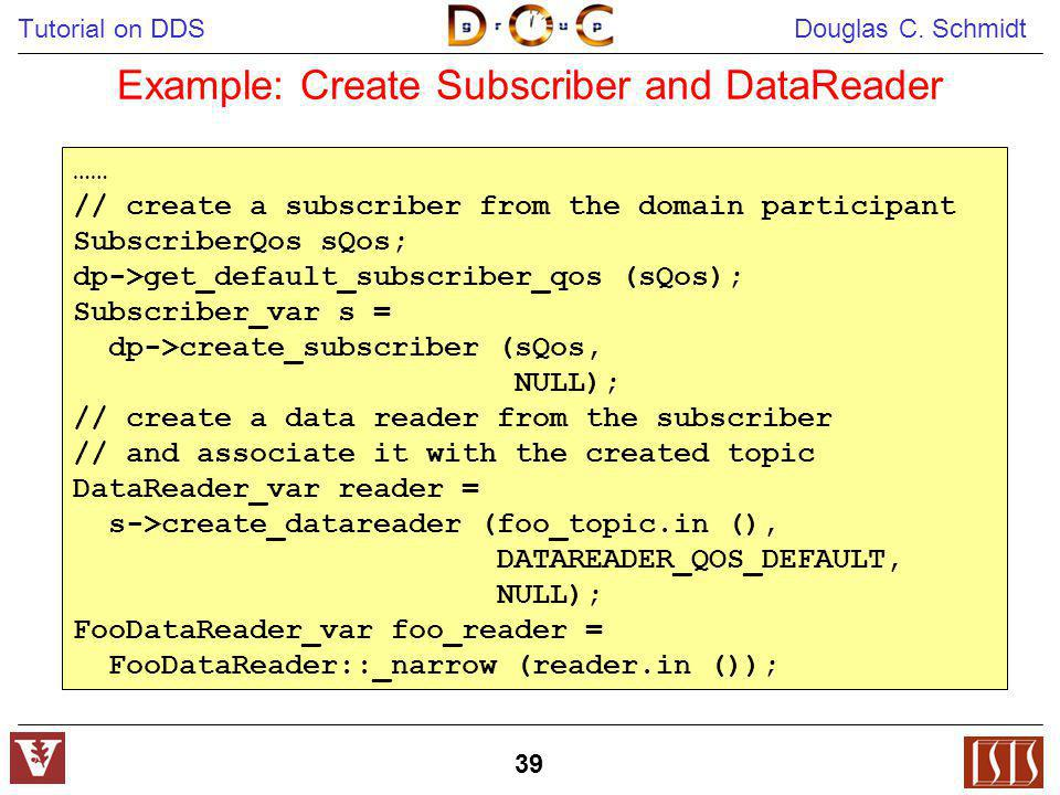Tutorial on DDS Douglas C. Schmidt 39 Example: Create Subscriber and DataReader …… // create a subscriber from the domain participant SubscriberQos sQ