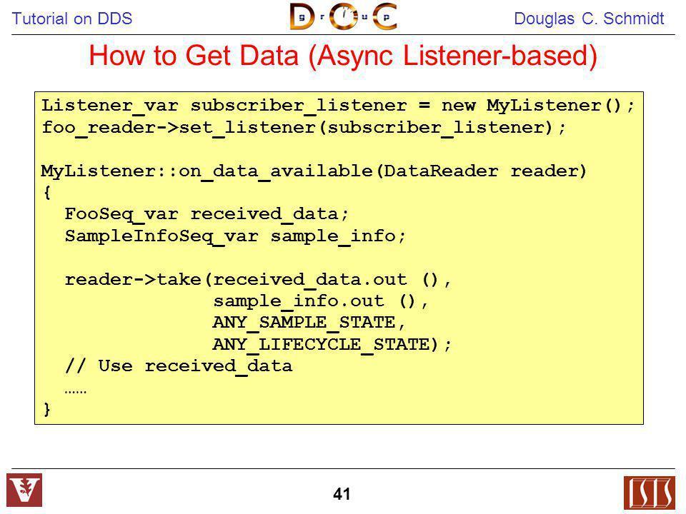 Tutorial on DDS Douglas C. Schmidt 41 How to Get Data (Async Listener-based) Listener_var subscriber_listener = new MyListener(); foo_reader->set_list