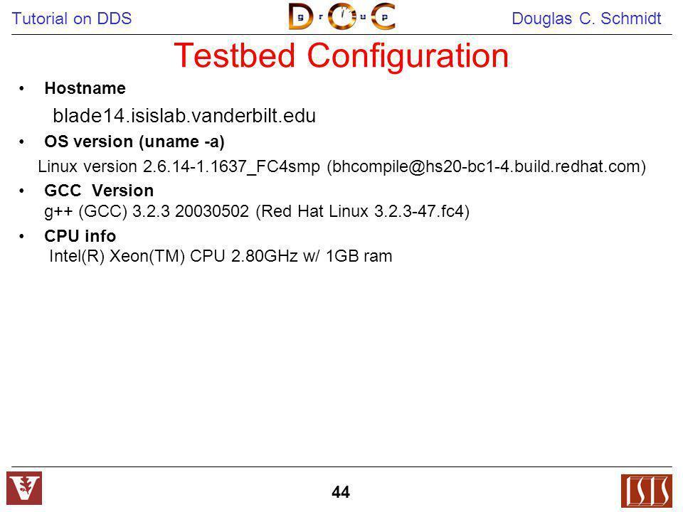 Tutorial on DDS Douglas C. Schmidt 44 Testbed Configuration Hostname blade14.isislab.vanderbilt.edu OS version (uname -a) Linux version 2.6.14-1.1637_