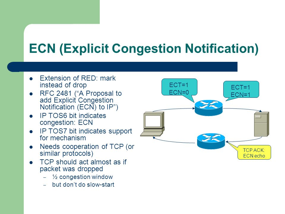 ECN (Explicit Congestion Notification) Extension of RED: mark instead of drop RFC 2481 (A Proposal to add Explicit Congestion Notification (ECN) to IP) IP TOS6 bit indicates congestion: ECN IP TOS7 bit indicates support for mechanism Needs cooperation of TCP (or similar protocols) TCP should act almost as if packet was dropped – ½ congestion window – but dont do slow-start ECT=1 ECN=1 ECT=1 ECN=0 TCP ACK: ECN echo