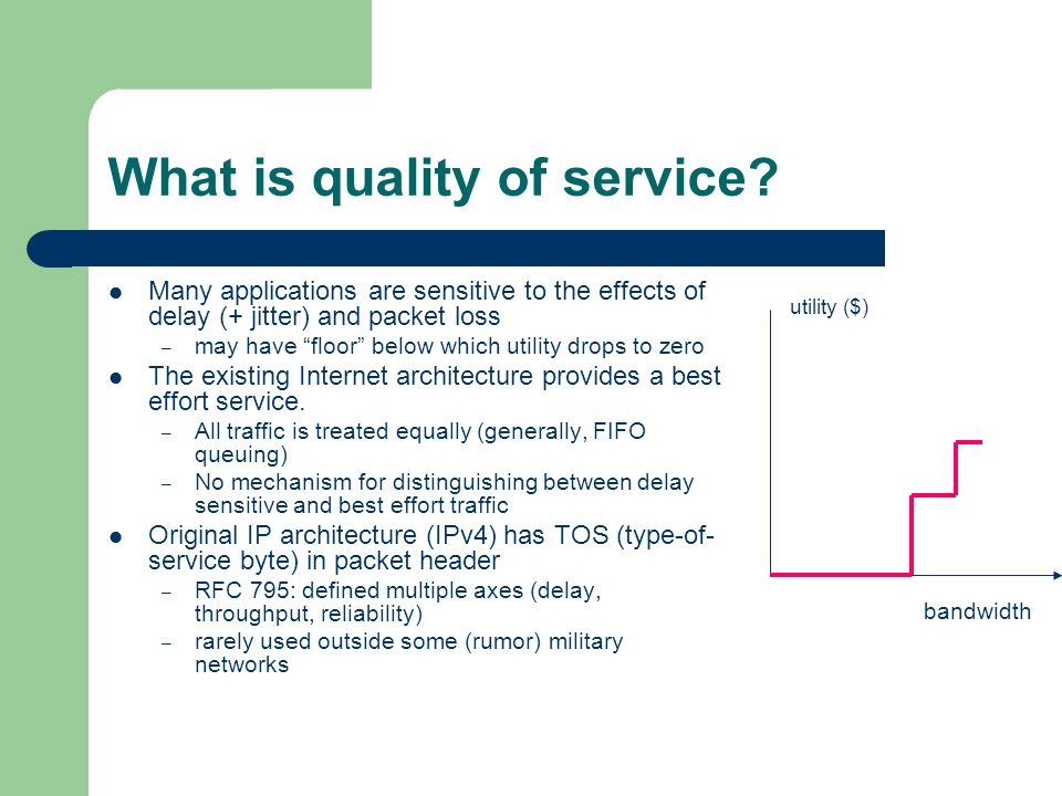 What is quality of service? Many applications are sensitive to the effects of delay (+ jitter) and packet loss – may have floor below which utility dr