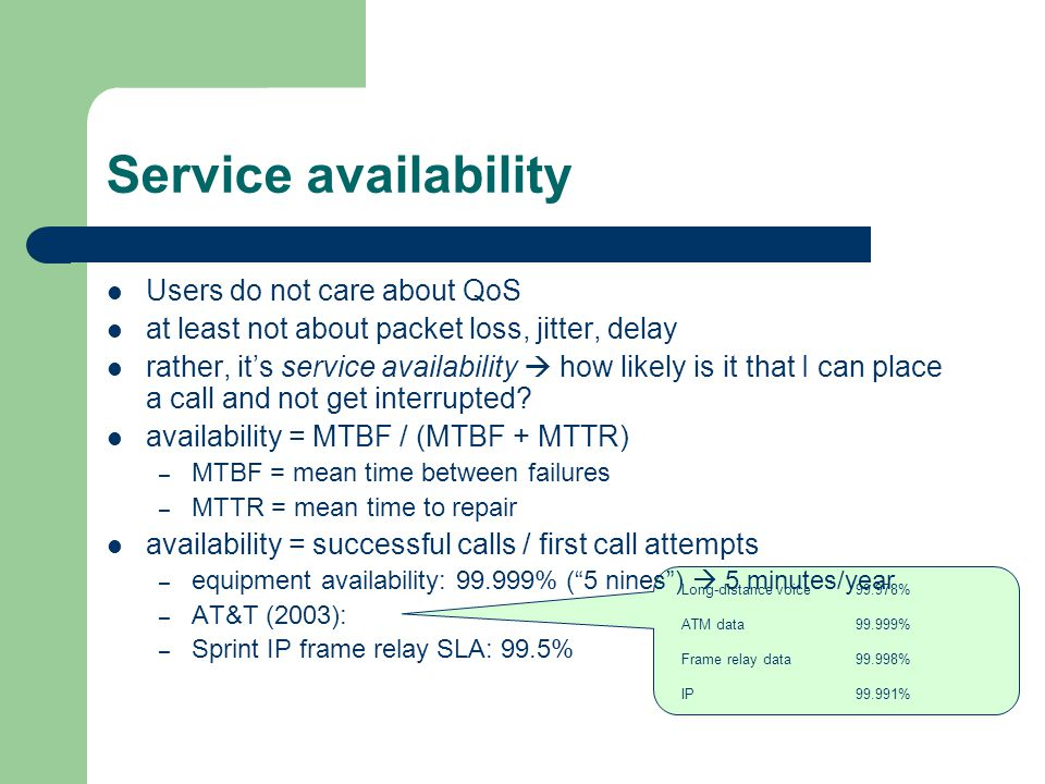 Service availability Users do not care about QoS at least not about packet loss, jitter, delay rather, its service availability how likely is it that I can place a call and not get interrupted.
