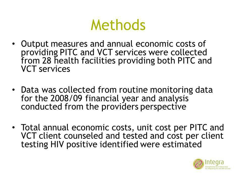 Methods Output measures and annual economic costs of providing PITC and VCT services were collected from 28 health facilities providing both PITC and VCT services Data was collected from routine monitoring data for the 2008/09 financial year and analysis conducted from the providers perspective Total annual economic costs, unit cost per PITC and VCT client counseled and tested and cost per client testing HIV positive identified were estimated