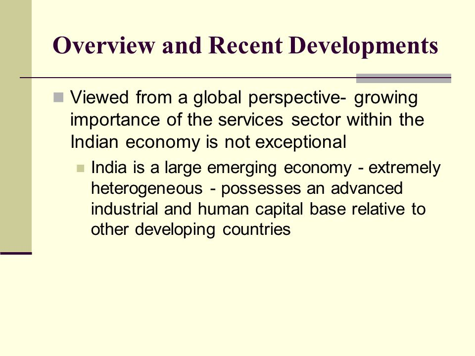 Overview and Recent Developments Viewed from a global perspective- growing importance of the services sector within the Indian economy is not exceptional India is a large emerging economy - extremely heterogeneous - possesses an advanced industrial and human capital base relative to other developing countries