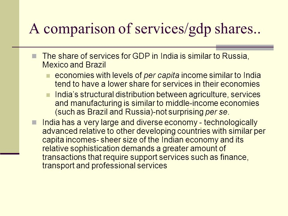 A comparison of services/gdp shares..