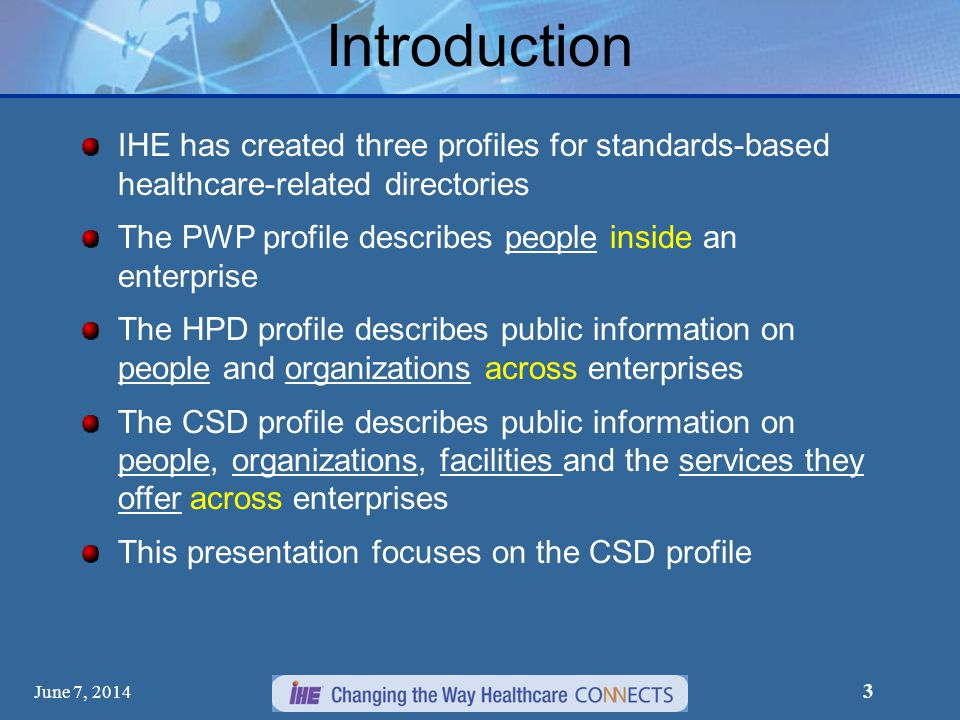 June 7, 2014 3 Introduction IHE has created three profiles for standards-based healthcare-related directories The PWP profile describes people inside