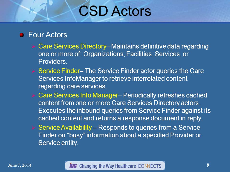 June 7, 2014 10 CSD Transactions Three Transactions Find Matching Services– The Find Matching Services transaction is used to express queries regarding locations, times, and kinds of services available at different facilities and from different providers and organizations.