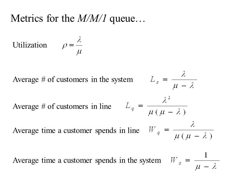 Metrics for the M/M/1 queue… Utilization Average # of customers in line Average # of customers in the system Average time a customer spends in the sys
