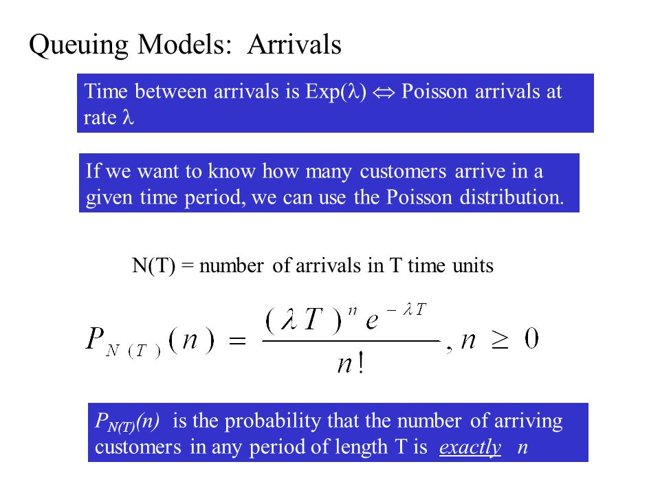 Queuing Models: Arrivals If we want to know how many customers arrive in a given time period, we can use the Poisson distribution.