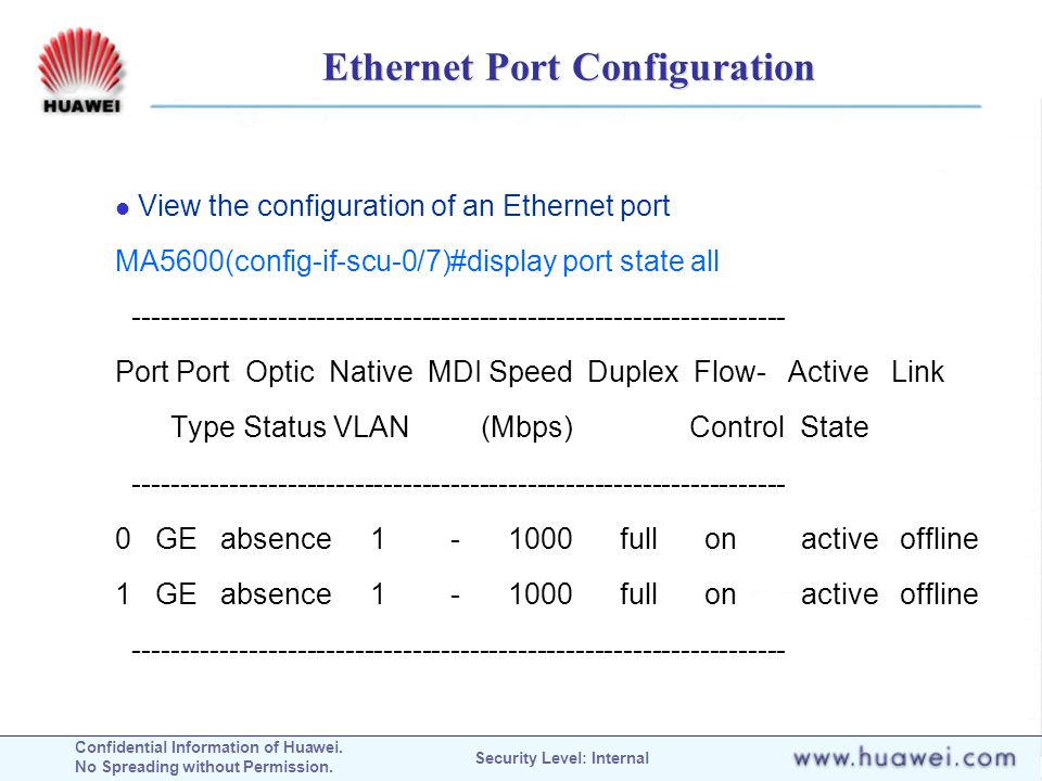 Confidential Information of Huawei. No Spreading without Permission. Security Level: Internal Ethernet Port Configuration View the configuration of an