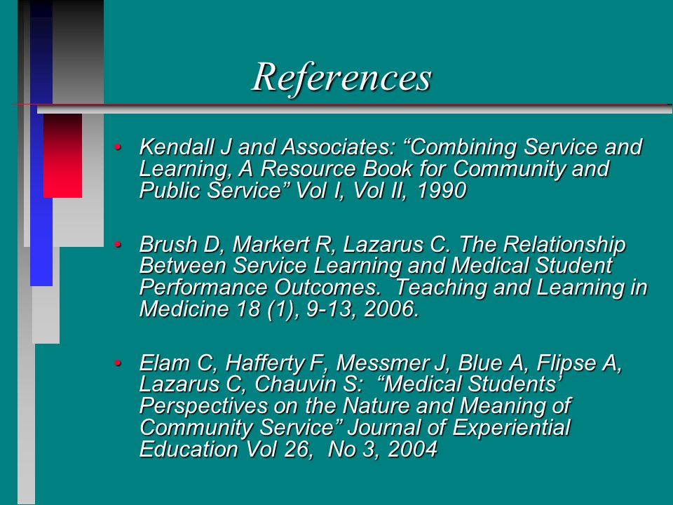 References Kendall J and Associates: Combining Service and Learning, A Resource Book for Community and Public Service Vol I, Vol II, 1990Kendall J and Associates: Combining Service and Learning, A Resource Book for Community and Public Service Vol I, Vol II, 1990 Brush D, Markert R, Lazarus C.