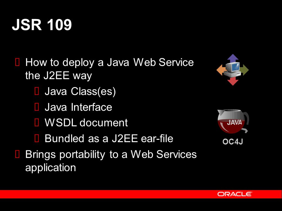 How to deploy a Java Web Service the J2EE way Java Class(es) Java Interface WSDL document Bundled as a J2EE ear-file Brings portability to a Web Servi