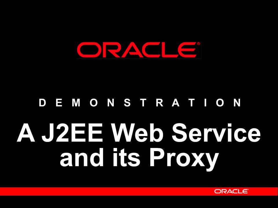 D E M O N S T R A T I O N A J2EE Web Service and its Proxy