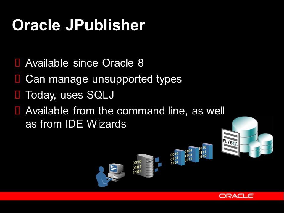 Oracle JPublisher Available since Oracle 8 Can manage unsupported types Today, uses SQLJ Available from the command line, as well as from IDE Wizards