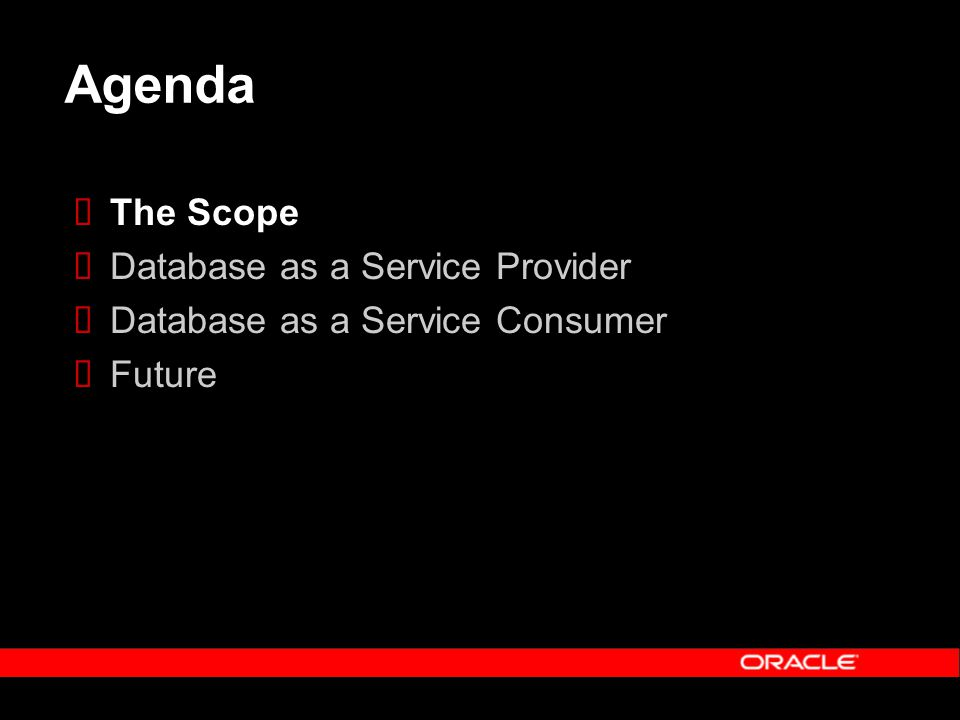 Agenda The Scope Database as a Service Provider Database as a Service Consumer Future