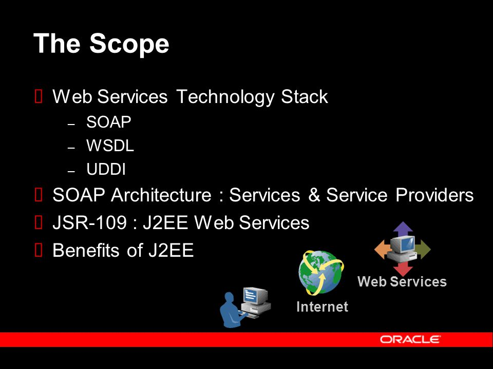 The Scope Web Services Technology Stack – SOAP – WSDL – UDDI SOAP Architecture : Services & Service Providers JSR-109 : J2EE Web Services Benefits of J2EE Internet Web Services