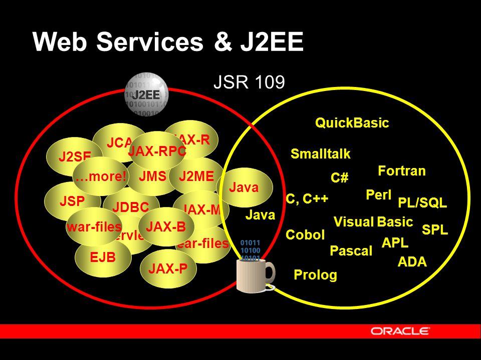 Web Services & J2EE JDBC JCA JMS Servlet JSP EJB war-files ear-files J2SE J2ME JAX-P JAX-M JAX-R JAX-RPC JAX-B … more! Java C, C++ Perl Visual Basic J
