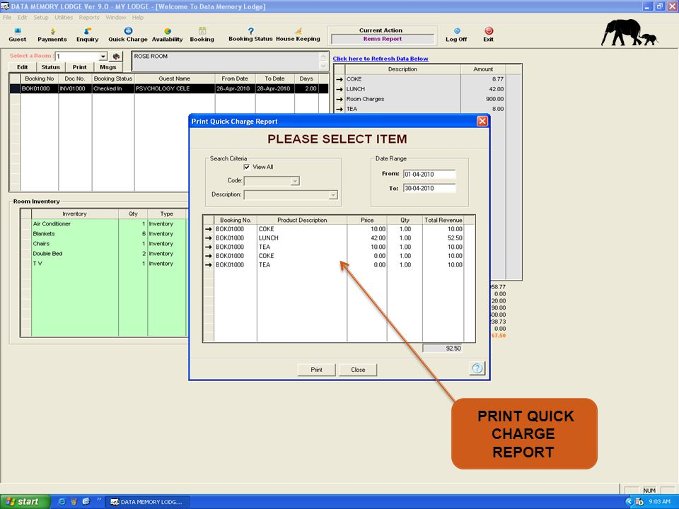 PRINT QUICK CHARGE REPORT