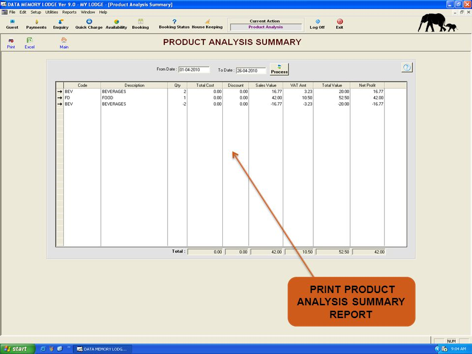 PRINT PRODUCT ANALYSIS SUMMARY REPORT