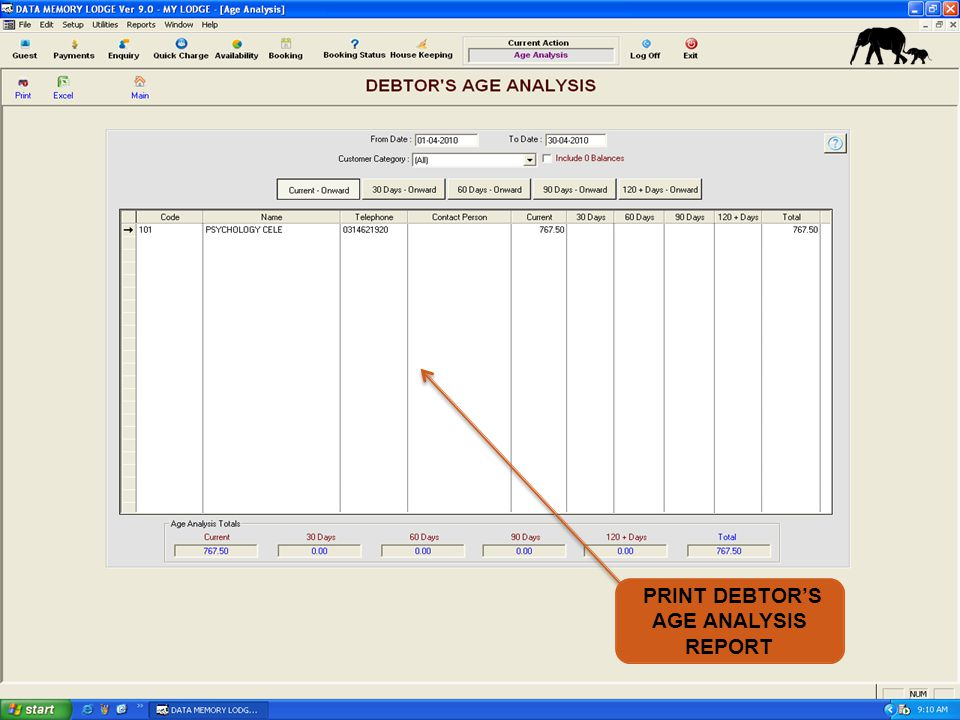 PRINT DEBTORS AGE ANALYSIS REPORT