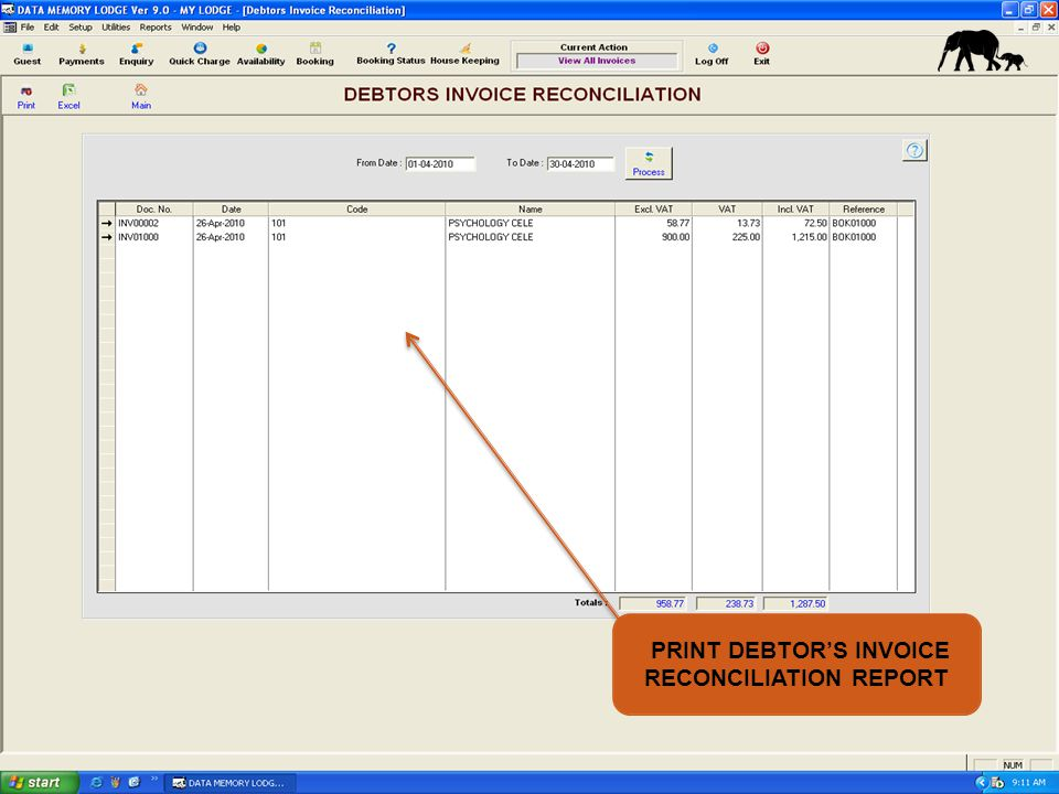PRINT DEBTORS INVOICE RECONCILIATION REPORT