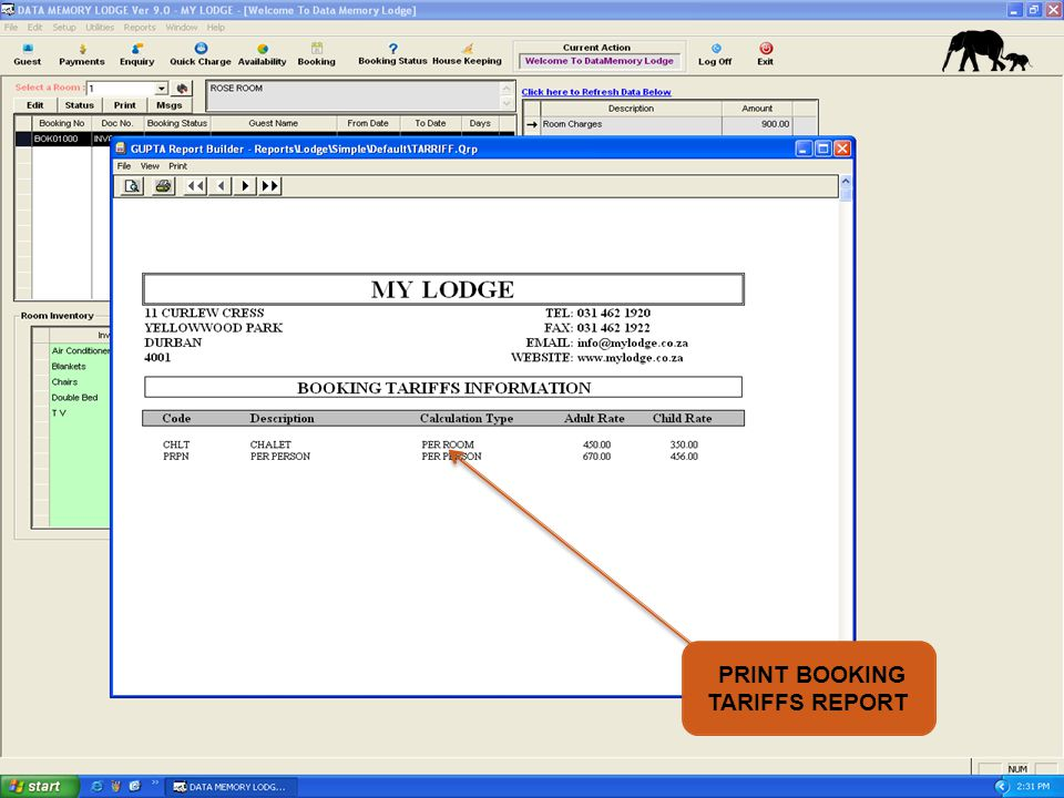 PRINT BOOKING TARIFFS REPORT