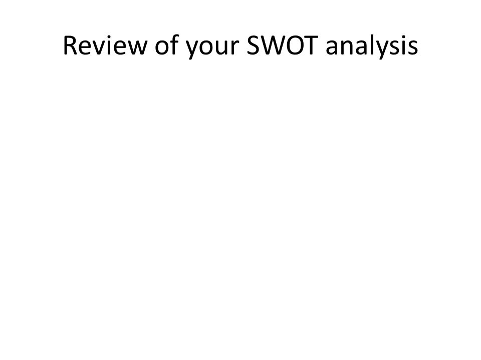 Review of your SWOT analysis