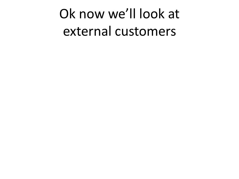 Ok now well look at external customers