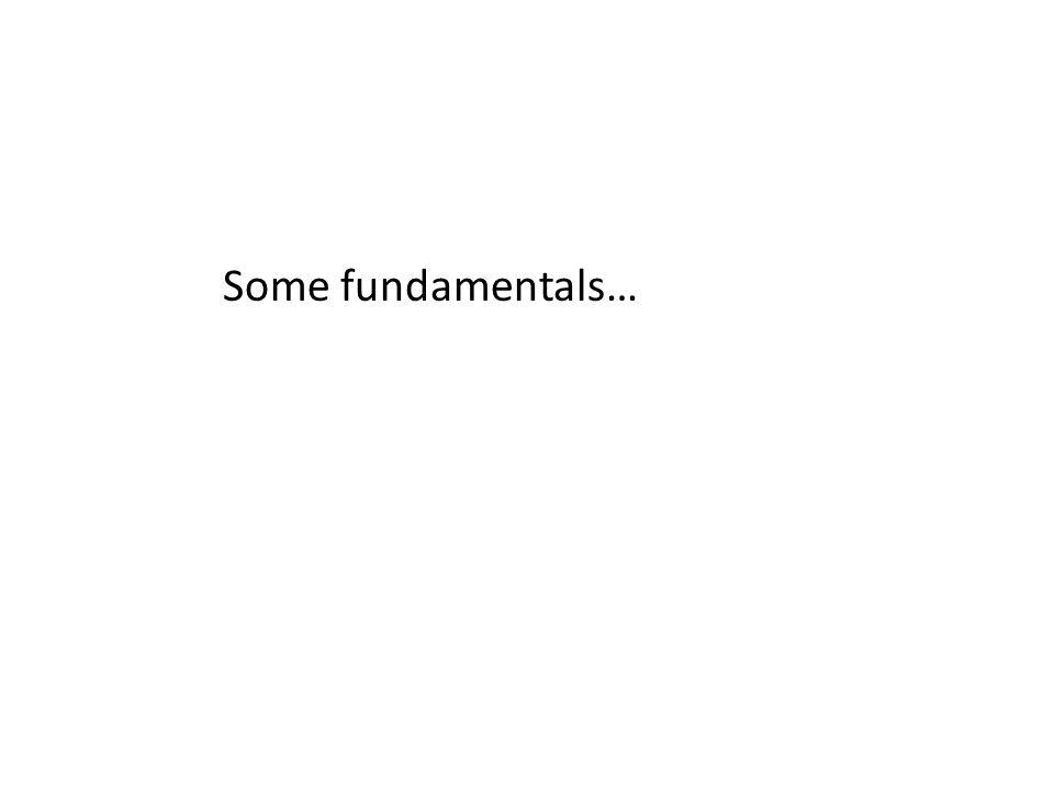 Some fundamentals…