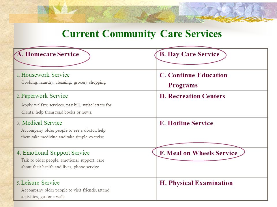 Current Community Care Services A. Homecare ServiceB.