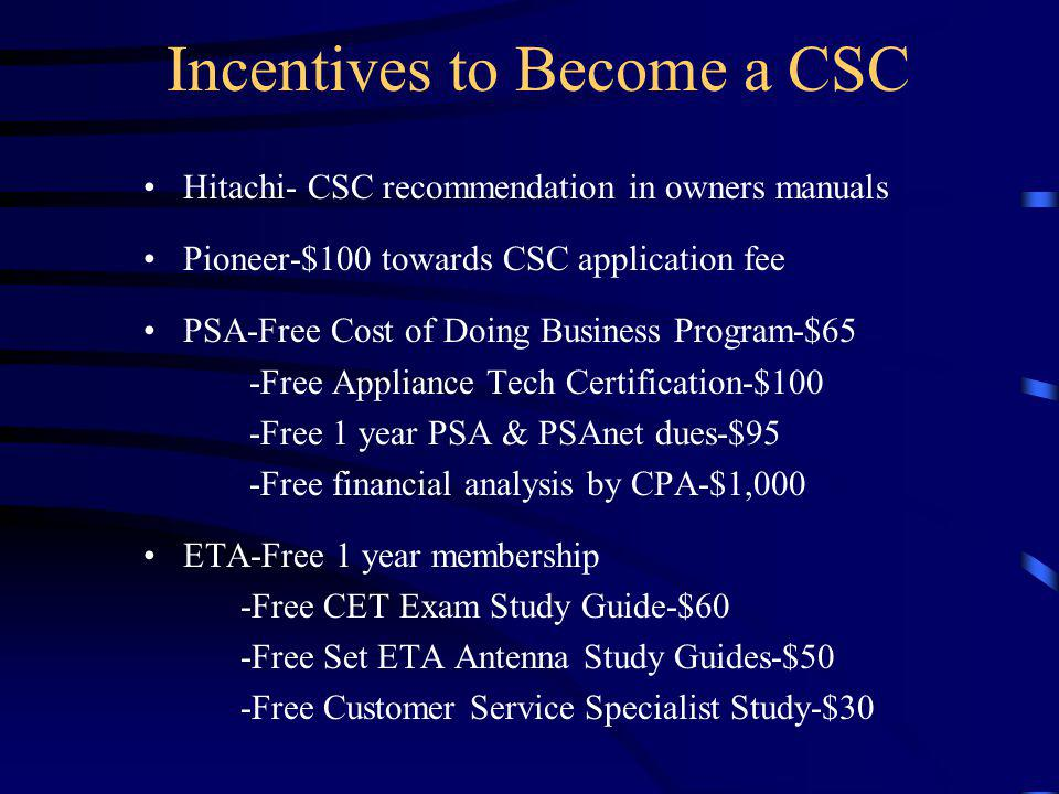 Incentives to Become a CSC Hitachi- CSC recommendation in owners manuals Pioneer-$100 towards CSC application fee PSA-Free Cost of Doing Business Prog