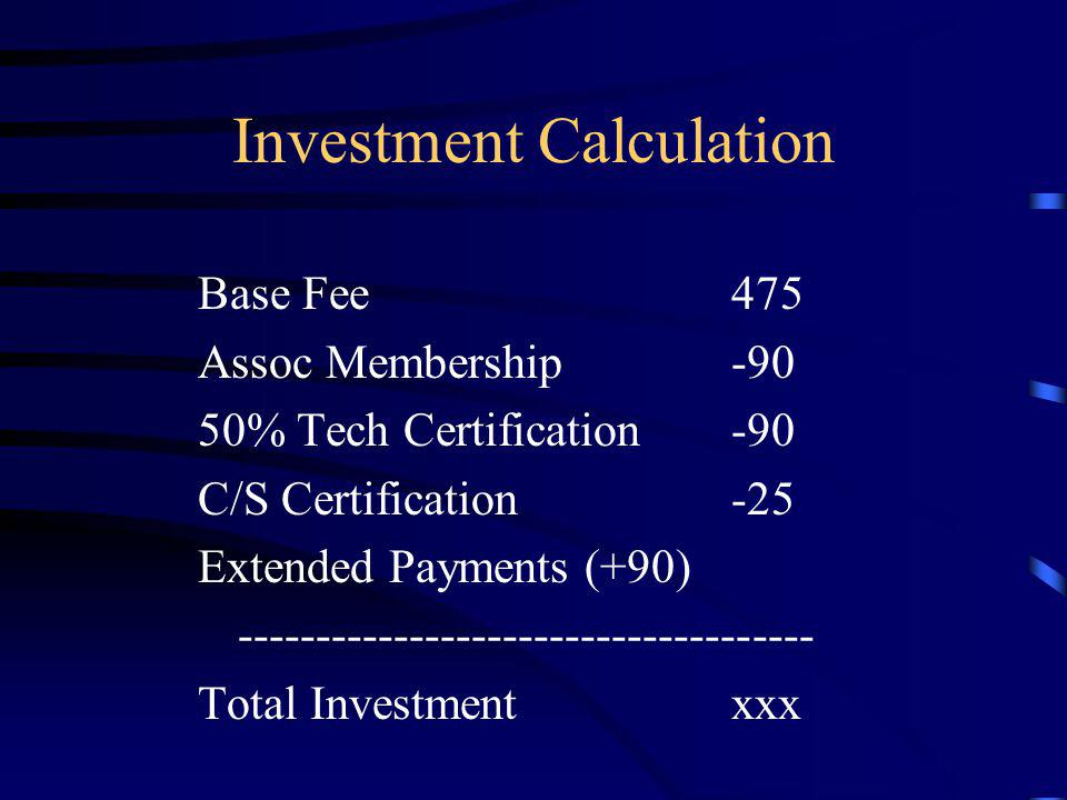 Investment Calculation Base Fee475 Assoc Membership-90 50% Tech Certification-90 C/S Certification-25 Extended Payments (+90) ------------------------