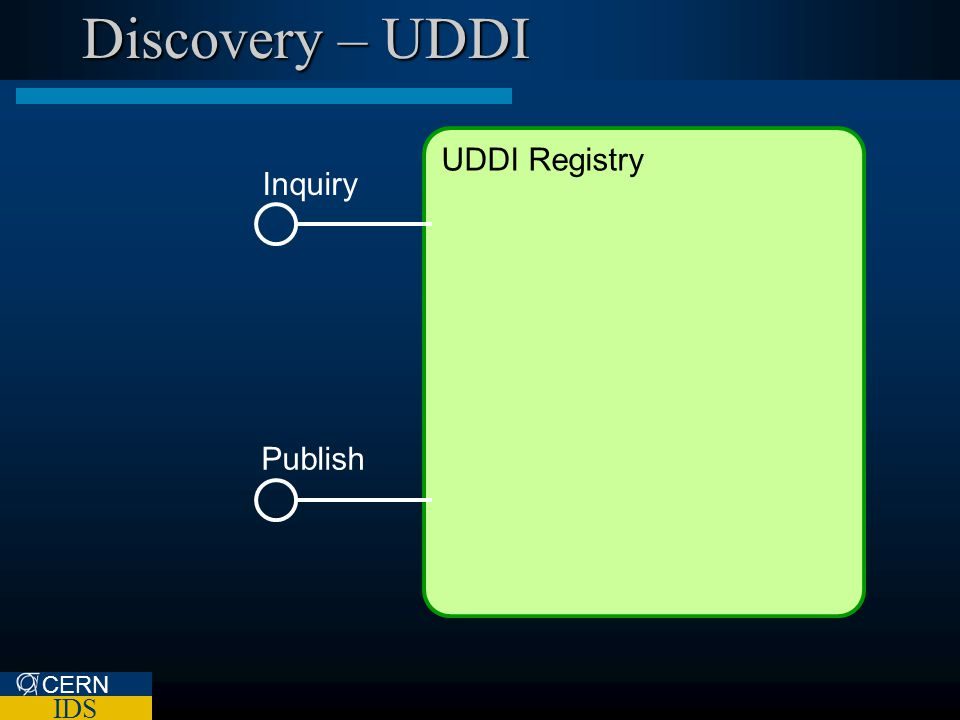 CERN IDS Discovery – UDDI UDDI Registry Inquiry Publish
