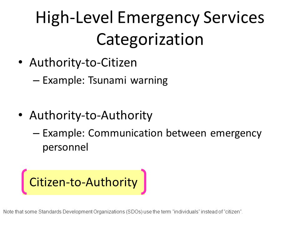 Standardization of the emergency call procedures for SIP.
