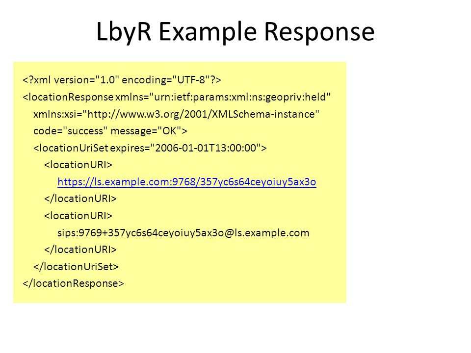 LbyR Example Response <locationResponse xmlns= urn:ietf:params:xml:ns:geopriv:held xmlns:xsi= http://www.w3.org/2001/XMLSchema-instance code= success message= OK > https://ls.example.com:9768/357yc6s64ceyoiuy5ax3o sips:9769+357yc6s64ceyoiuy5ax3o@ls.example.com