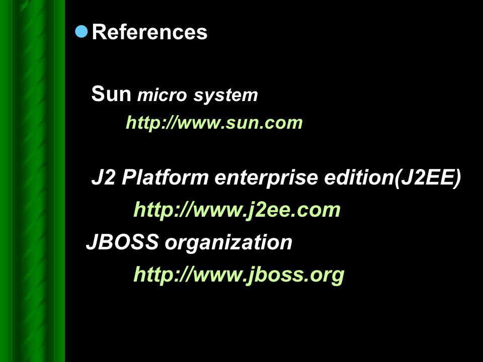 References Sun micro system http://www.sun.com J2 Platform enterprise edition(J2EE) http://www.j2ee.com JBOSS organization http://www.jboss.org