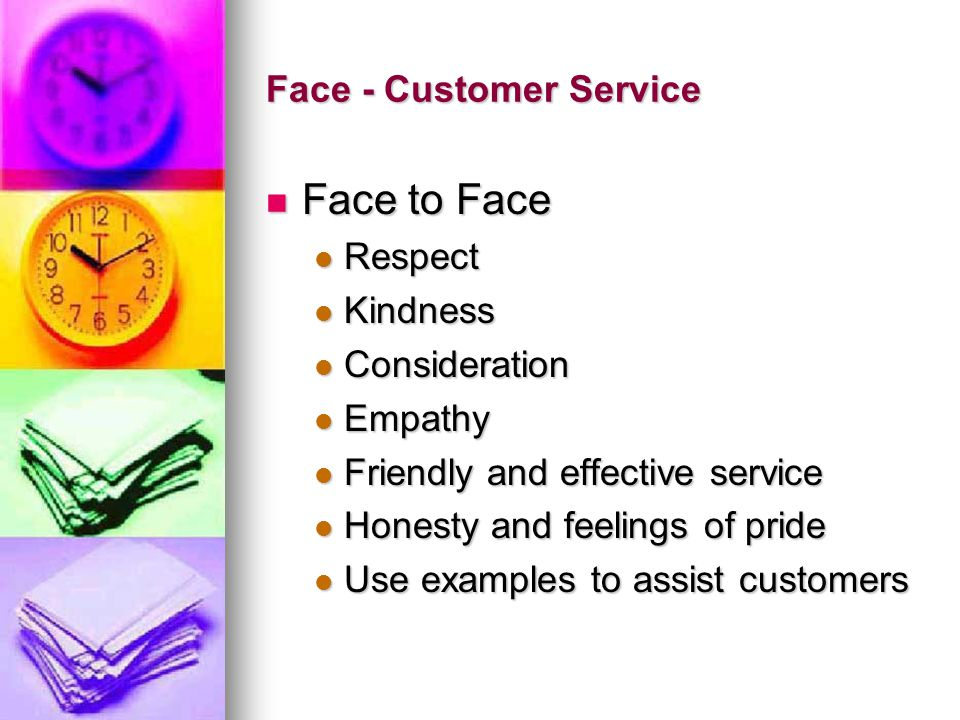Face - Customer Service Face to Face Face to Face Respect Respect Kindness Kindness Consideration Consideration Empathy Empathy Friendly and effective