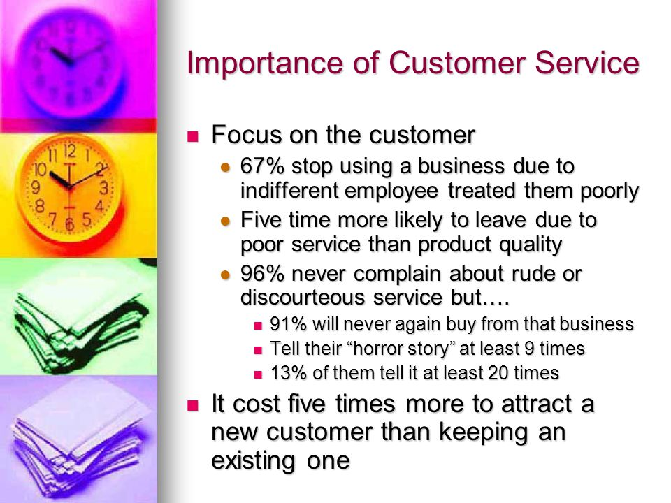 Importance of Customer Service Focus on the customer Focus on the customer 67% stop using a business due to indifferent employee treated them poorly 6