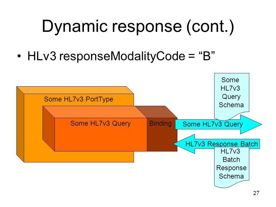 27 Binding Some HL7v3 PortType Some HL7v3 Query HL7v3 Response Batch Some HL7v3 Query Schema HL7v3 Batch Response Schema Dynamic response (cont.) HLv3 responseModalityCode = B