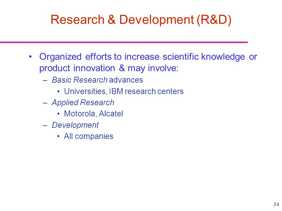 34 Research & Development (R&D) Organized efforts to increase scientific knowledge or product innovation & may involve: –Basic Research advances Unive